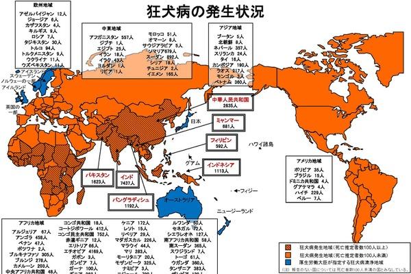 世界の狂犬病発生地域と清浄国