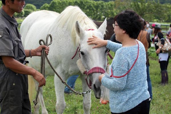 馬との触れ合いを通し、温もりを感じる