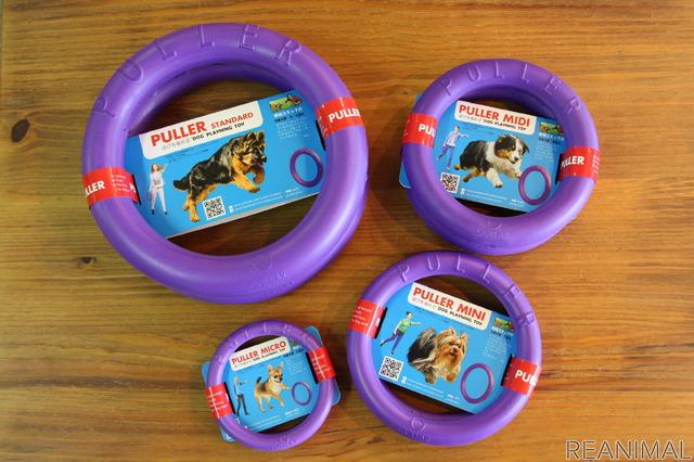 丈夫なのに犬にとって噛み心地が良くしっかりホールドできる無臭の多成分高分子ポリマーという素材を採用し、犬が認識しやすい紫色にすることで、機能性、安全性、耐久性、しつけ効果も抜群に。遊びやすさにとことんこだわっている。超大型犬用から超小型犬用までサイズは5種類。